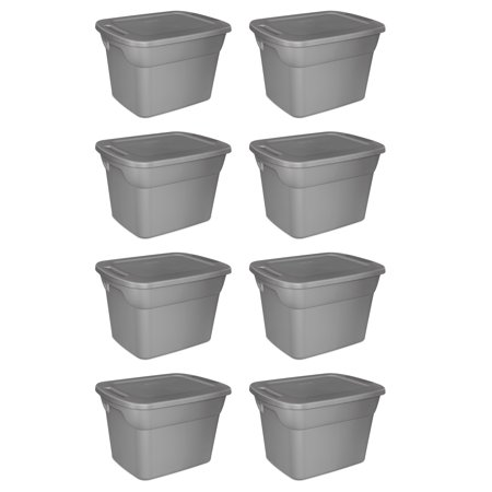 Sterilite, 18 Gal./68 L Tote Box, Steel, Case of 8](Large Plastic Storage Bins)