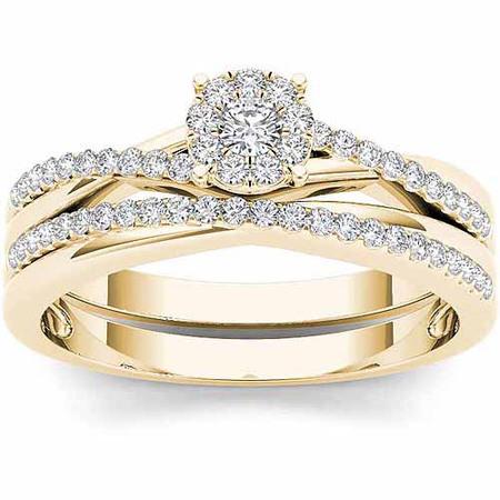 - 1/4 Carat T.W. Diamond 10kt Yellow Gold Criss Cross Shank Engagement Ring Set