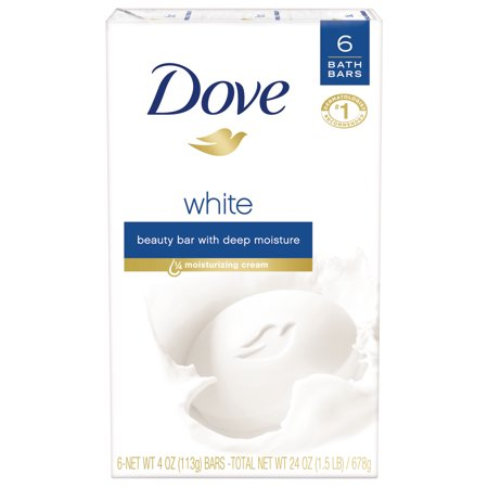 Dove Beauty Bar White 4 oz, 6 Bar, more moisturizing than bar soap Bar Soap White Tea