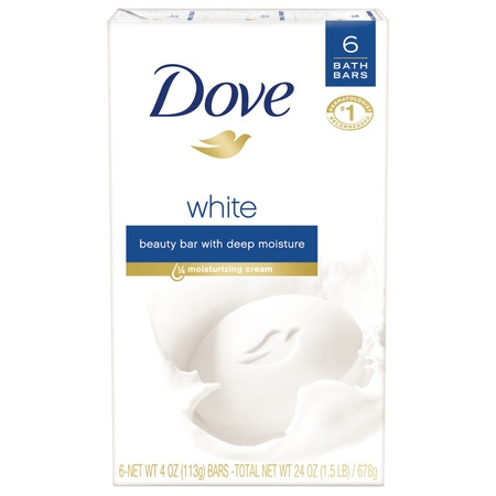 Dove Beauty Bar White 4 oz, 6 Bar, more moisturizing than bar soap