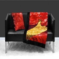 Reversible Sequin Sparkle Red to Gold Throw Blanket, 1 Each
