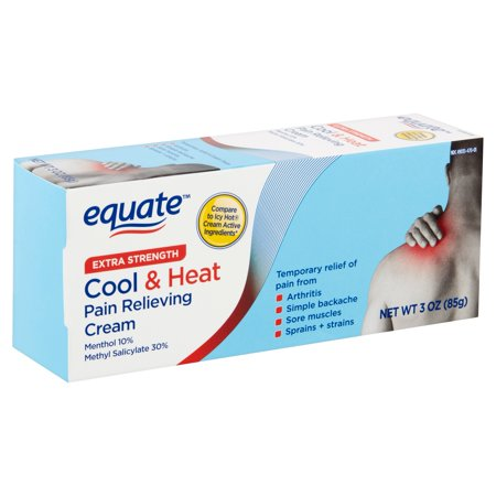 Equate Cold & Heat Pain Relieving Cream, Menthol 10%, Methyl Salicylate 30%, 3