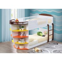 Acme Furniture Neptune Twin Over Twin Bunk Bed - White and Chocolate