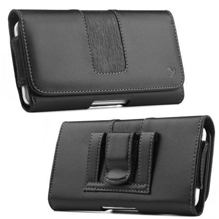 - [World Acc] Premium PU Leather Pouch Holster Belt Clip Case For Motorola Moto E4 / Motorola Moto E 4 (Premium Black Stripe Pouch)