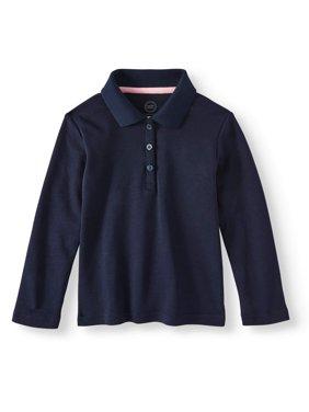 Toddler Girls School Uniform Long Sleeve Interlock Polo
