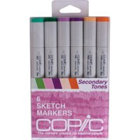 Copic Sketch Markers, Secondary Tones, 6 Count