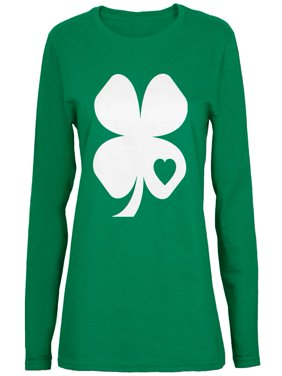 fd28596a7 Product Image St. Patricks Day - Shamrock Heart Green Ladies Long Sleeve  T-Shirt