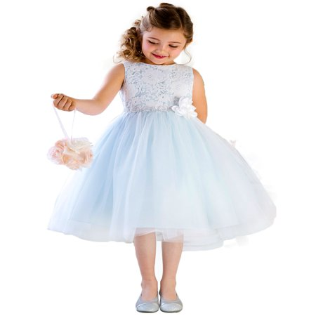 Ivory Lace Dress For Girls (Efavormart Glamorous and Lace tulle Dress with Flower Accented Belt Birthday Girl Dress Junior Flower Girl Wedding Party Gown)