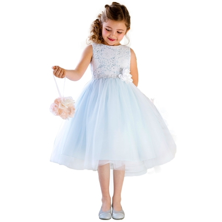 Efavormart Glamorous and Lace tulle Dress with Flower Accented Belt Birthday Girl Dress Junior Flower Girl Wedding Party Gown Dress](Dresses For Girls For Party)