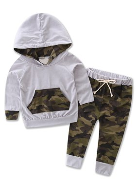 StylesILove Infant Baby Boy Camouflage Hoodie Top and Pants Outfit (100/ 12-18 Months)