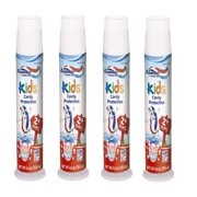 (4 Pack) Aquafresh Fluoride Toothpaste Kids Cavity Protection Bubble Mint, 4.6 OZ