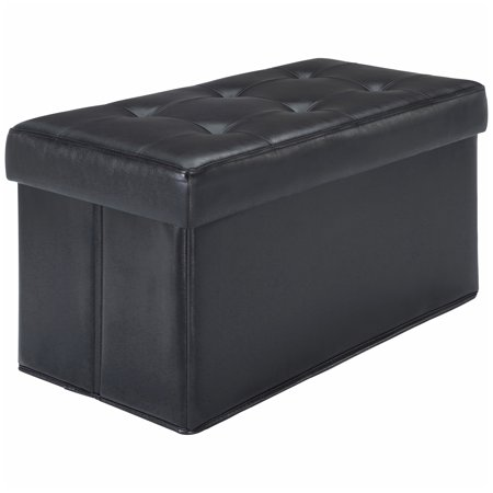 Mainstays Collapsible Storage Ottoman Quilted Black Faux