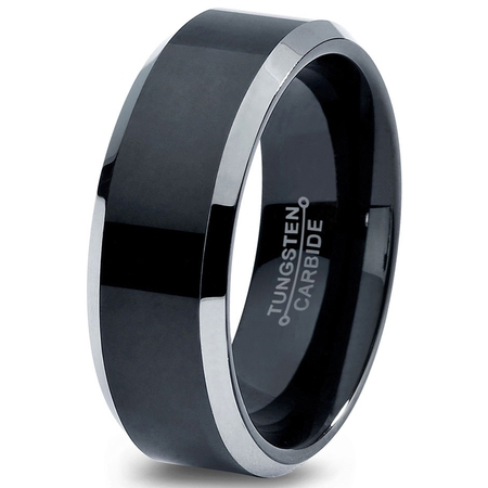 Tungsten Wedding Band Ring 8mm for Men Women Comfort Fit Black Beveled Edge Polished Brushed Lifetime Guarantee