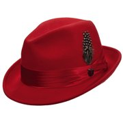 fb950bd5d952f Men s Crush Wool Felt Fedora Hat XL Red