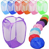 Girl12Queen Laundry Bag Pop Up Mesh Washing Foldable Laundry Basket Bag Bin Hamper Storage