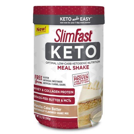 SlimFast Keto Meal Replacement Shake Powder, Vanilla Cake Batter, 11.01oz. Canister (10 servings) - Shake It Up Chicago