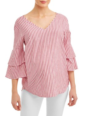 Maternity Woven Stripe Top with Bell Sleeve