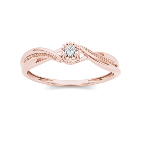 1/20Ct TDW Diamond 10K Rose Gold Solitaire Ring
