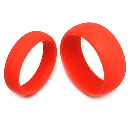 Rubber Set Ring (FSR- FLEXIBLE SILICON RINGS -Men and Ladies Wedding Band Ring Set 8MM/6MM RED Flexible Silicon Rubber )
