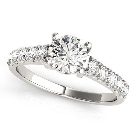 14K White Gold Round Trellis Setting Diamond Engagement Ring (1 ct. tw.) Size - 4