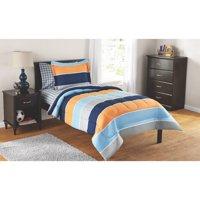 Mainstays Kids Rugby Stripe Bed in a Bag Complete Bedding Set