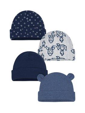 Organic Cotton Rib Caps, 4pk (Baby Boys)