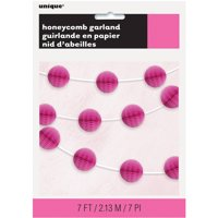 Tissue Paper Honeycomb Ball Garland, 7 ft, Hot Pink, 1ct
