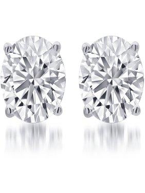 1/4 Carat T.W. Round White Diamond Sterling Silver Stud Earrings