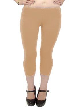 Vivian's Fashions Capri Leggings - Cotton, Misses Size (Turquoise, S)