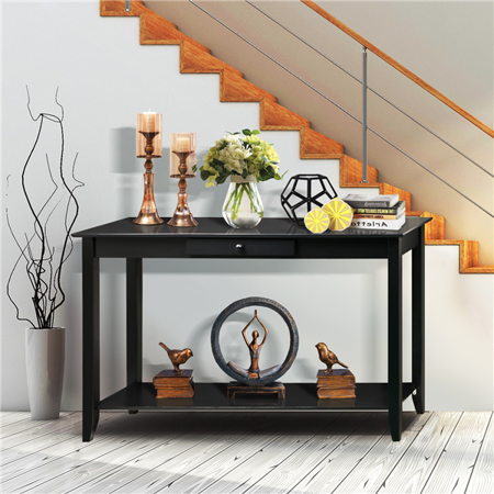 Yaheetech 2 Tiers Concepts Wood Console Table With Drawer And Shelf