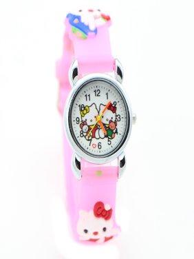 e827a4d2923 Product Image Hello Kitty Watch Girls Children 3D Design Pink Band Cat  Wristwatch, HKCPW-1
