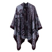 ef0f16264735 Vintage Women Faux Cashmere Poncho Cardigan Sweater Cashew Nut Print Capes  Shawl Scarf Loose Outerwear