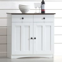 Baxton Studio Lauren Modern and Contemporary 2-Tone White and Dark Brown Buffet Kitchen Cabinet with 2 Doors and 2 Drawers