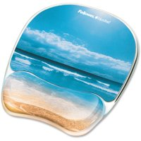 Fellowes Photo Gel Mouse Pad Wrist Rest with Microban, 1, Multicolor
