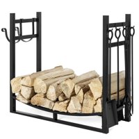 Best Choice Products 43.5in Steel Firewood Log Storage Rack Accessory and Tools for Indoor/Outdoor Fire Pit, Fireplace w/ Removable Kindling Holder, Shovel, Poker, Grabber, Brush