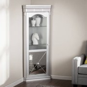 Southern Enterprises Illusions Mirrored Lighted Corner Curio Cabinet Matte Silver