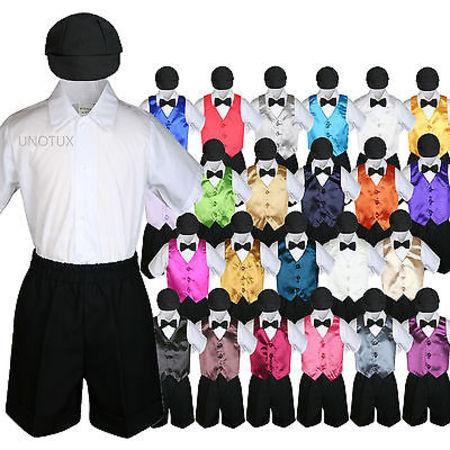 Boys Toddler Formal Vest Shorts Suits Satin Vest Black Bow Tie Hat 5pc Set S-4T - Black Suit Boys