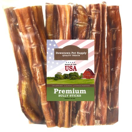 "Downtown Pet Supply Best Free Range 6"" & 12"" American Bully Sticks for Dogs Made in USA - Odorless Dog Dental Chew Treats, High in Protein, Great Alternative to Rawhides"