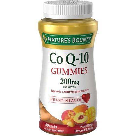 Nature's Bounty Co Q-10 Peach Mango Flavor Heart Shape Gummies, 200 mg, 60 count ()
