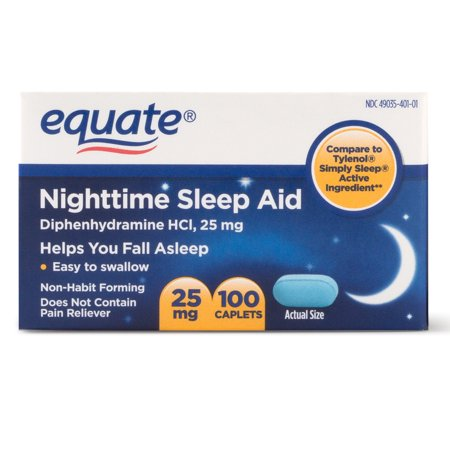 Equate Nighttime Sleep Aid Diphenhydramine Hcl Caplets  Ct Walmart Com