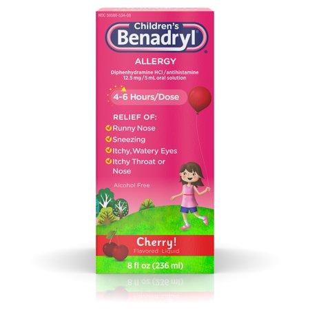 Children's Benadryl Antihistamine Allergy Liquid, Cherry, 8 fl. oz Benadryl Dye Free Allergy Relief