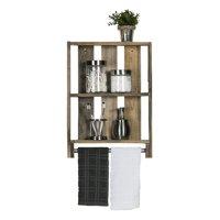 Reclaimed Wood Bathroom Plank Shelf with Towel Bar, Natural