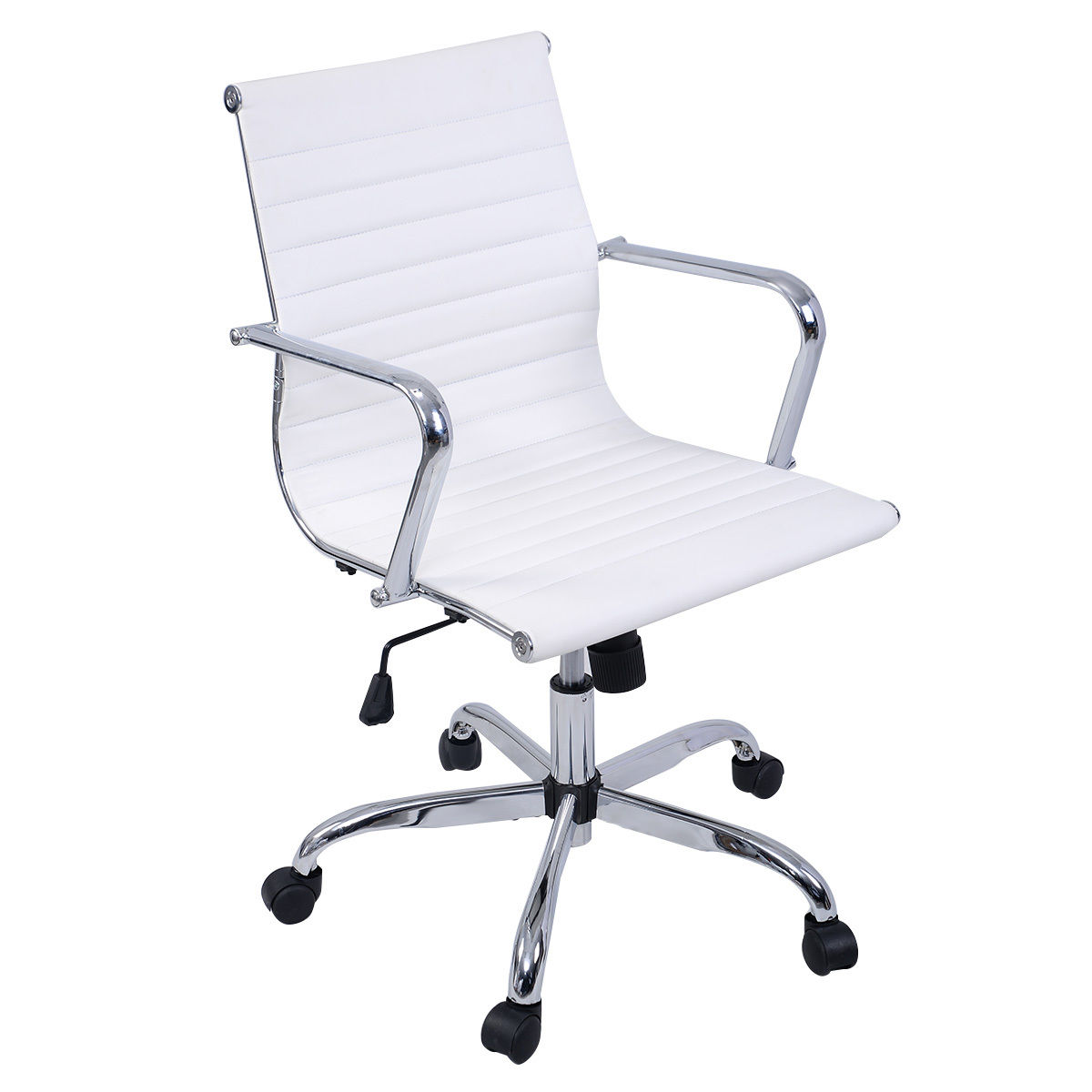 Costway Modern PU Leather Ergonomic Mid Back Office Chair Executive Computer Desk  sc 1 st  Walmart & White Desk Chairs