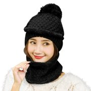 efe80990391637 Vbiger Women Warm Hat Scarf Set Winter Thickened Beanie and Scarf with  Mask, Thick Plush