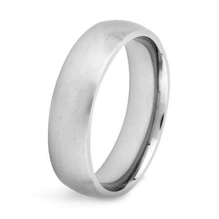 Brushed Finish Titanium Domed Band Ring (6mm Wide)