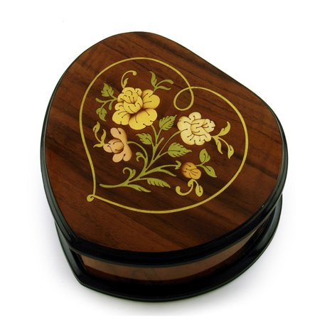 Exclusive Wood Tone Heart Shaped Floral Inlay Music Jewelry Box - America the Beautiful ()