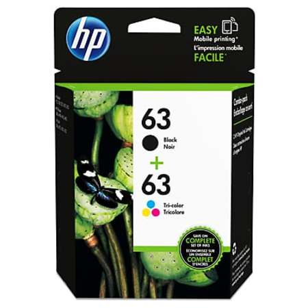 HP 63 Black/Tri-color Original Ink Cartridges, 2-Pack (L0R46AN) Compatible Multi Pack Ink