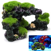 Aquarium Mountain View Coral Reef Moss Rock Cave Stone Fish Tank Ornament Decor 6.3x3.5x3.3 inch