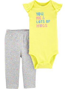 Short Sleeve Bodysuit and Pant Set, 2 pc set (Baby Girls)