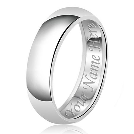 8mm Personalized Name Engraved Classic Sterling Silver Plain Wedding Band Ring